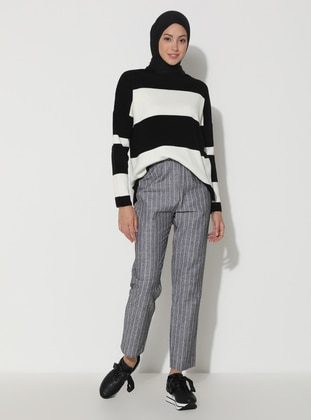 Black - Stripe -  - Viscose - Pants