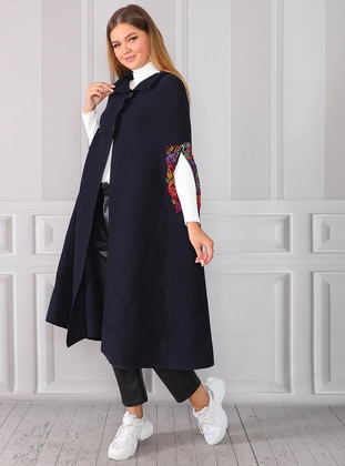 Navy Blue - Unlined - Acrylic -  - Knit Ponchos - Gaja