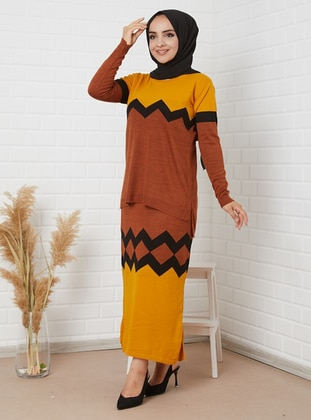 Yellow - Tan - Unlined - Acrylic -  - Wool Blend - Knit Suits