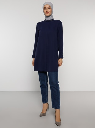 Navy Blue - Polo neck - Tunic