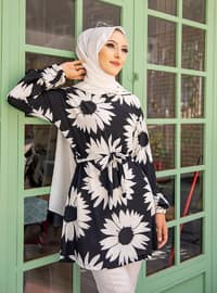 White - Black - Multi - Crew neck - Tunic