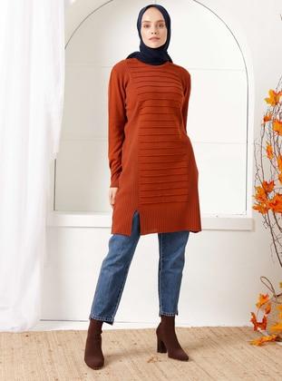 Tan - Crew neck - Knit Tunics