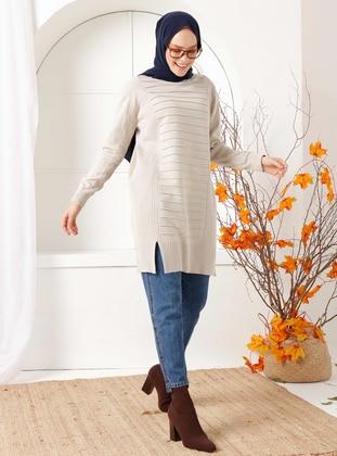Beige - Crew neck - Knit Tunics
