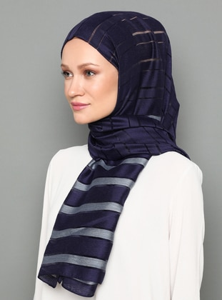 Navy Blue - Striped - Shawl