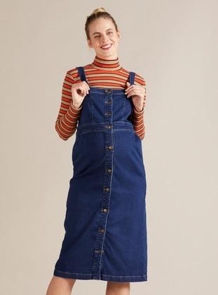Blue - Unlined - Denim -  - Maternity Dress
