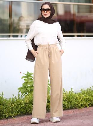 Beige - Denim - - Pants