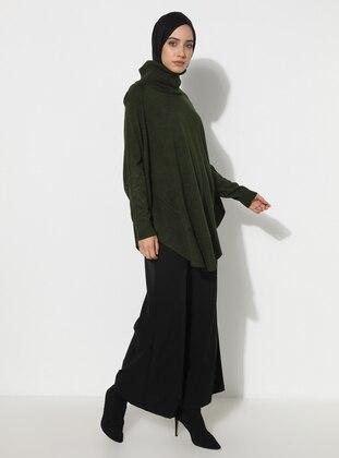 Khaki - Unlined - Acrylic - - Knit Ponchos