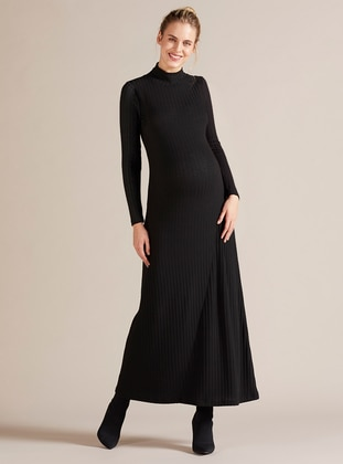 Black - Polo neck - Unlined - Viscose - Maternity Dress