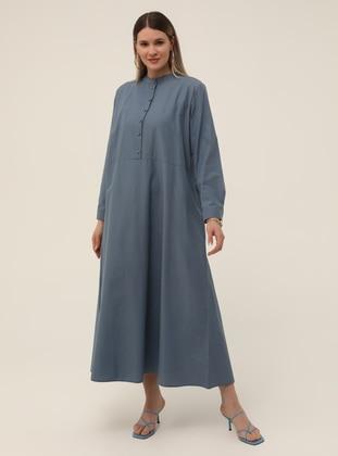 Oversize Pocket Detailed Oversize Dress - Asia Blue