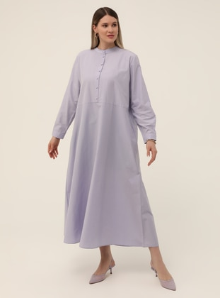 Lilac - Unlined - Button Collar -  - Plus Size Dress