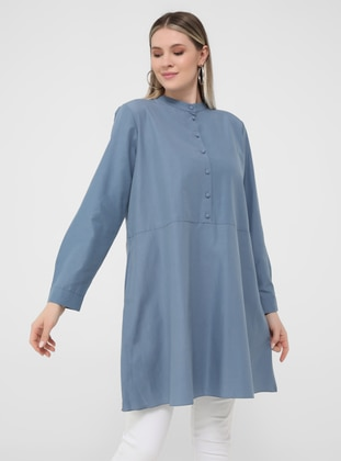 Oversize Button Detailed Oversize Tunic - Asia Blue