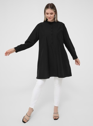 Oversize Button Detailed Oversize Tunic- Black
