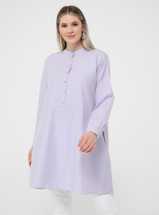 Oversize Button Detailed Oversize Tunic- Dusty Lilac