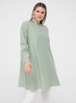 Oversize Button Detailed Oversize Tunic- Oil Green