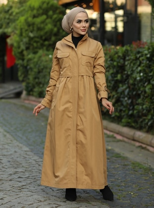 Camel - Fully Lined - Crew neck - Trench Coat