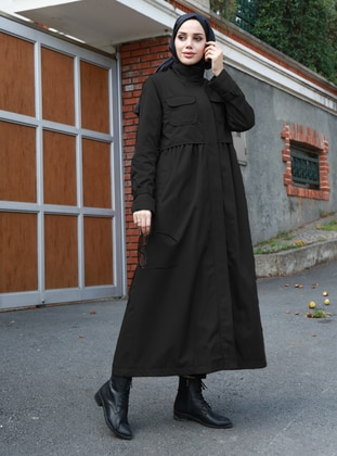 Black - Fully Lined - Crew neck - Trench Coat - Neways