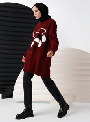 Maroon - Crew neck - Unlined - Knit Tunics