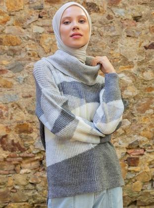 Gray - Multi - Shawl Collar - Unlined - Knit Tunics