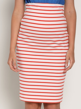 White - Red - Unlined - Stripe - Maternity Skirt