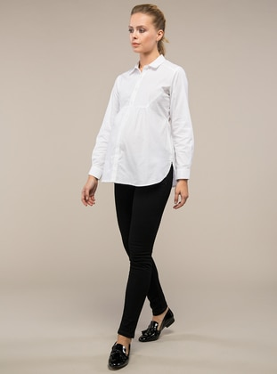 White -  - Point Collar - Maternity Blouses Shirts