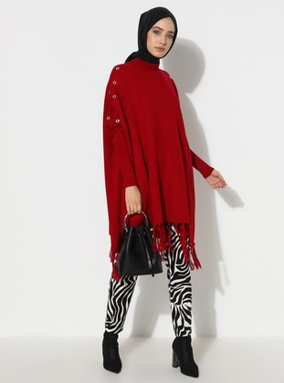 Red - Unlined - Acrylic - - Knit Ponchos