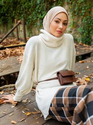 Beige - Shawl Collar - Unlined - Knit Tunics