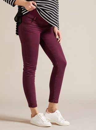 Maroon -  - Unlined - Maternity Pants