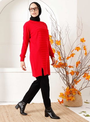 Red - Crew neck - Knit Tunics