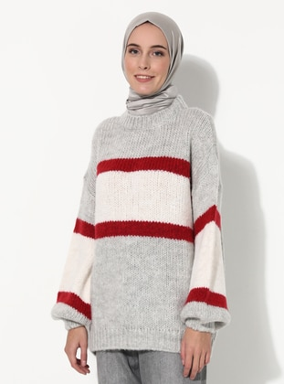 Red - Stripe - Crew neck - Unlined - Knit Tunics