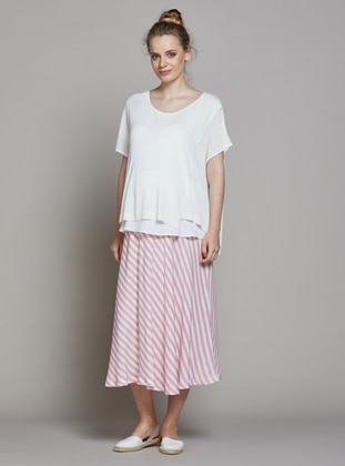White - Red - Unlined - Stripe - Viscose - Maternity Skirt