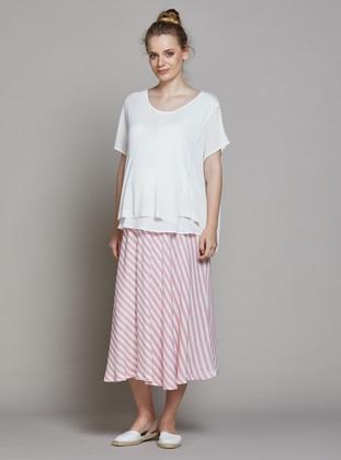 White - Red - Unlined - Stripe - Viscose - Maternity Skirt - Gebe