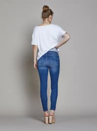 Blue - Denim -  - Unlined - Maternity Pants