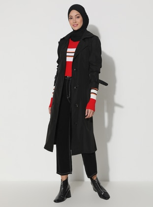 Black - Fully Lined - V neck Collar - Trench Coat