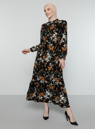 Mustard - Floral - Polo neck - Unlined - Dress