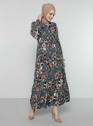 Anthracite - Floral - Crew neck - Unlined - Dress