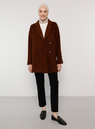 Brown - Fully Lined - Shawl Collar - Coat