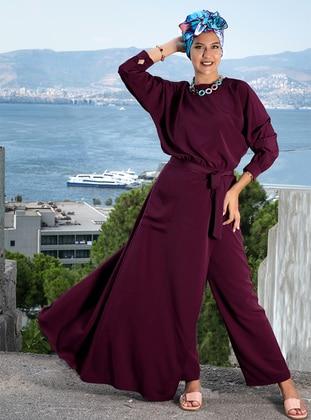 Unlined - Plum - Crepe - Evening Suit - Rana Zenn