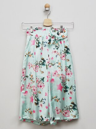 Multi - Unlined - Green - Girls` Shorts
