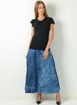 Indigo - Unlined - Denim - Viscose - Skirt