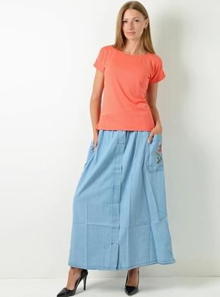 Indigo - Unlined - Denim - Viscose - Skirt