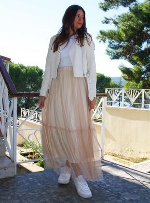 Brown - Caramel - Unlined - - Skirt