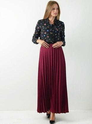 Fuchsia - Unlined - Viscose - Skirt