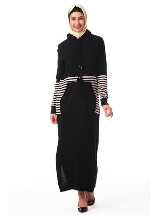 Black - Stripe - Unlined - Crew neck - Acrylic -  - Knit Dresses