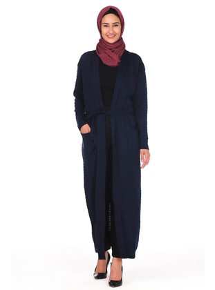 Navy Blue - Unlined - Acrylic -  - Knit Cardigans