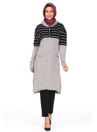 Gray - Stripe - Crew neck - Unlined - Knit Tunics