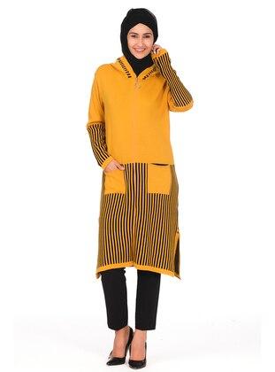 Mustard - Stripe - Crew neck - Unlined - Knit Tunics