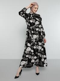 Siyah - Çiçekli - Balıkçı Yaka - Astarsız - Elbise