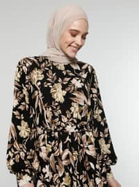 Brown - Shawl - Crew neck - Unlined - Dress