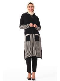 Black - Stripe - Crew neck - Unlined - Knit Tunics