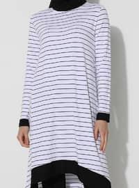White - Stripe - Crew neck - Tunic